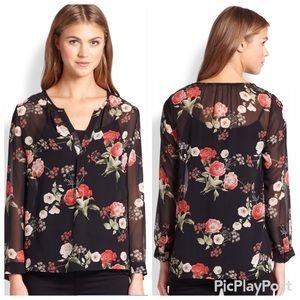 NWOT Joie Maurelle Floral Print Silk Blouse -XS